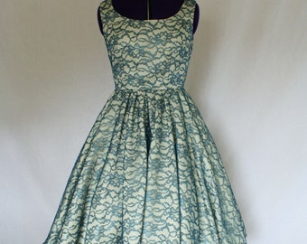 A la Mode Custom Made Swing Dress w/ lace overlay