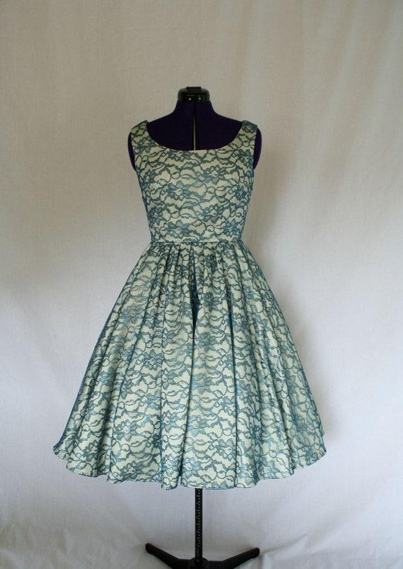 A la Mode Custom Made Swing Dress w/ lace overlay