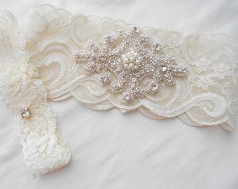 Wedding Garter Set Ivory or Lite Iv ory Stretch Lace Bridal Garter Set ...