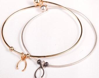 Wishbone Bangle Bracelet (Gold or Silver)