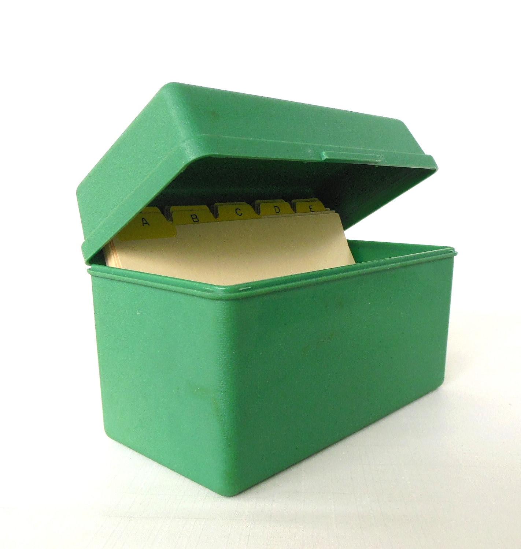 Vintage Plastic 5 X 8 Index Card File Box Alphabetical