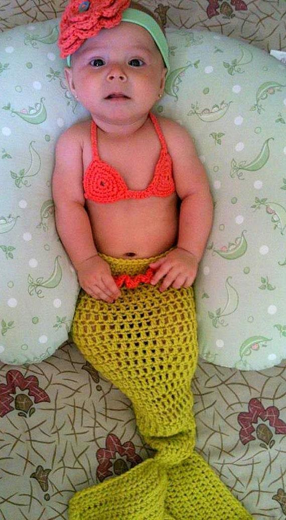 Mermaid Baby Girl Crochet Cocoon Tail and Bikini Top - Photography Prop - Halloween Costume