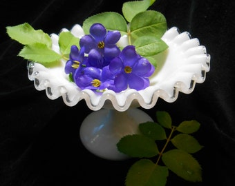 FENTON Silver Crest Candy Dish-Ruffled edge Milk glass bowl-cottage chic-wedding decor-wedding gift