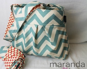 Emma Chevron Diaper Bag Set  Medium with Changing Pad Blue Chevron - 6 pockets Adjustable Strap - Custom Made to Order