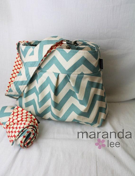 emma chevron diaper bag set medium with changing pad blue. Black Bedroom Furniture Sets. Home Design Ideas