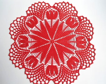 Crochet doily / Lace / Red / Round / 17 inches