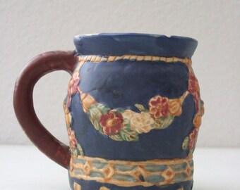 Matte Glaze Art Pottery Mug Roses and Swag Rose Garland Mug RARE from The Back Part of the Basement