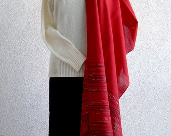 Red Shawl with White and Black - hand woven striped scarf - red wrap