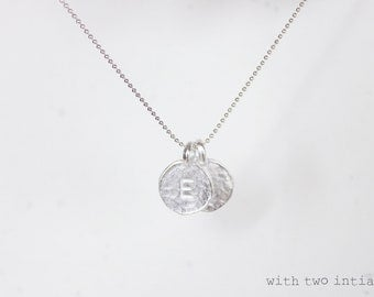 Personalized Initial Charm Sterling Silver Necklace - custom letter disc charm necklace