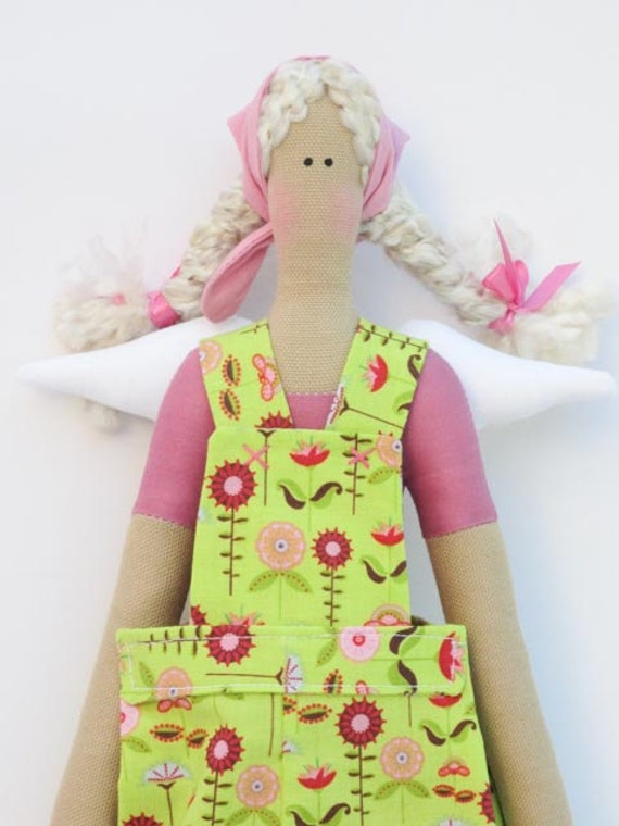 Lovely fabric angel doll stuffed sloth doll in bright green and pink flower clothing ,blonde- gift idea for girls