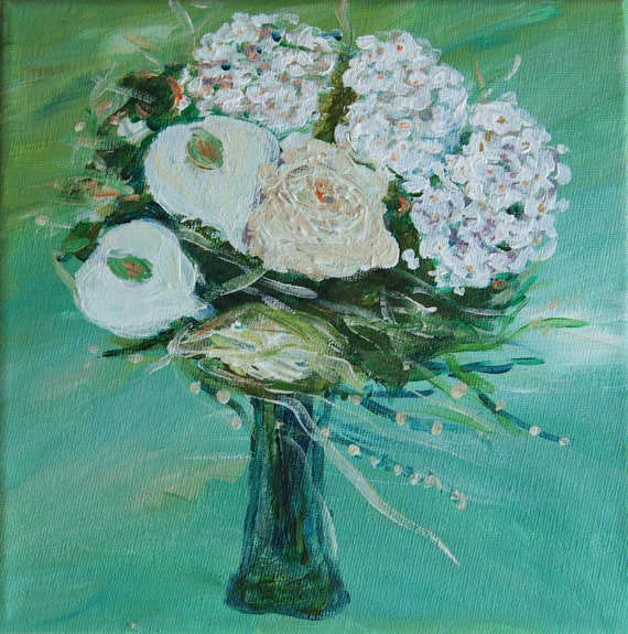 Wedding Gift Painting : , custom wedding bouquet, Custom Bridal Bouquet Original art, Gift ...