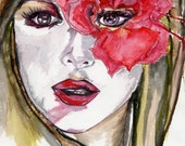 Red flower fashion illustration art print - Surprise Surprise