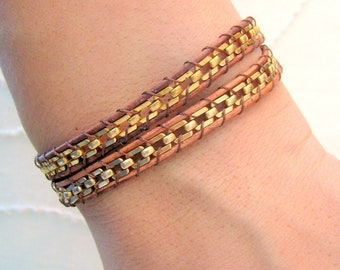 Brass Chain Leather Wrap Bracelet on Brown Leather with a Button Clasp