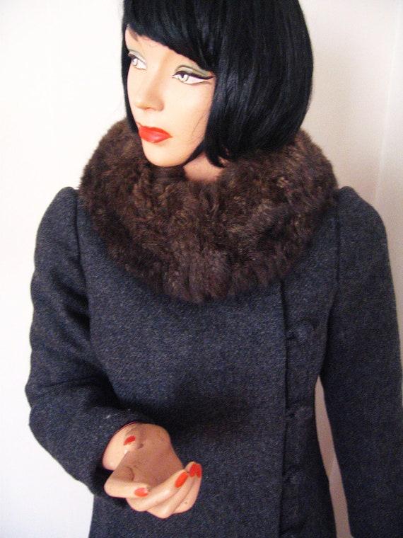 SALE - Vintage 1950's Princess Coat w/ Fur Collar & Asymmetrical Buttons Wool