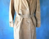 vintage trench coat, pig skin, 1970's, long leather coat, from Diz Has Neat Stuff