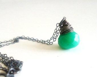 Green Chrysoprase Necklace - Pendant - Sterling Silver Oxidized Jewelry Chain - Teardrop - Minimalist - Dainty - Simple Jewellery