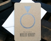 Will You Be My Maid of Honor Card - letterpress wedding cards on kraft paper