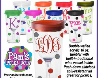 Personalized VINO 2 GO Wine To Go Acrylic Tumbler Wine Glass Sippy Cup Name Initial Monogram Polka Dots for picnics tailgates weddings