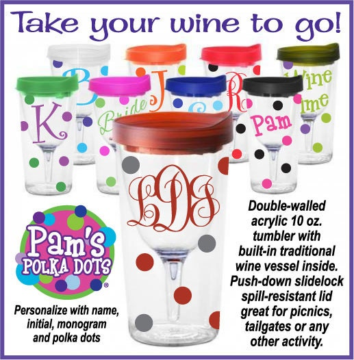 3 Personalized Vino 2 Go Wine To Go Acrylic Wine Sippy Cups