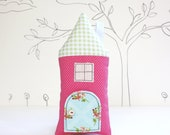 Tooth Fairy Pillow House Pillow  Pink  Polka Dot Girls Children Stuffed Toy Secret  Door Keepsake