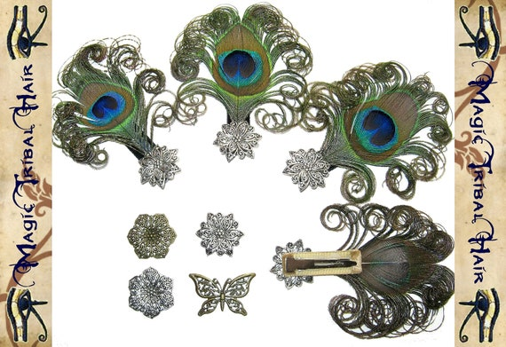 4 x PEACOCK FEATHER fascinator - BRIDESMAIDS bridal bride hair jewelry headpiece hair accessory Fantasy & Formal Wedding adornment