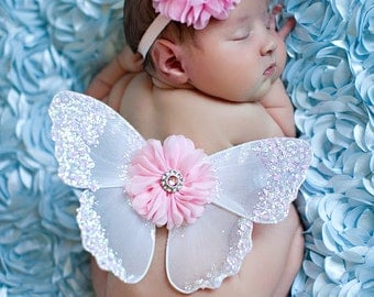 Butterfly Wings, Newborn Photo Prop, Flower Headband, Pink Flowers, White Wings, Sparkle Wings, Baby Girl Prop