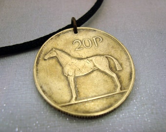 Ireland Coin necklace. HORSE necklace. 1986 1988 1992 1994 1995 Coin Jewelry. Irish necklace. Irish harp. equestrian. horse riding. dressage