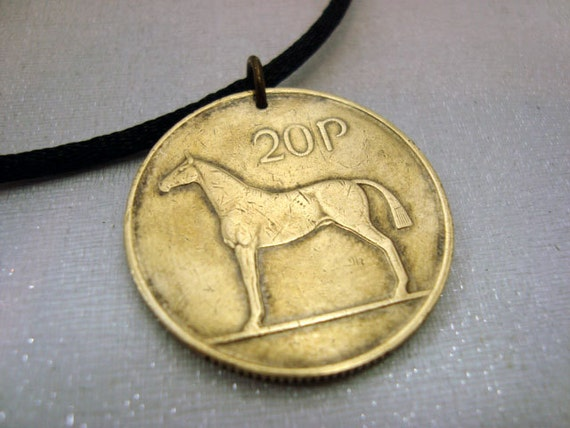 Ireland Coin necklace. HORSE necklace. 1986 1988 1995 1998 Coin Jewelry. Irish necklace. Irish harp. equestrian. horse riding. dressage