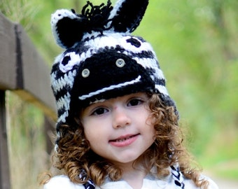 Zebra hat in black and white with spikey zebra mane. Newborn through adult sizes available. made to order.