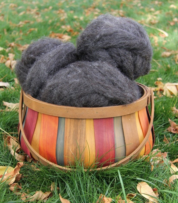 Dark Charcoal Romney Roving - 4 oz. - Very Clean