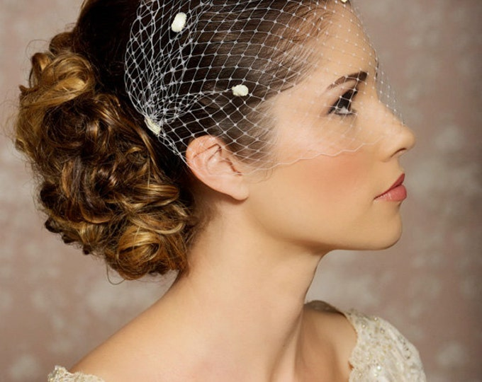 "Ivory Dotted Veil, Birdcage Veil, Chenille Polka Dots, Bandeau Birdcage Veil, Bridal Veil - 9"", Dotted veil available in white, ivory"