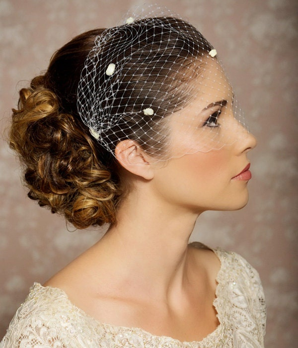 Ivory Dotted Veil Birdcage Chenille Polka Dots Bandeau