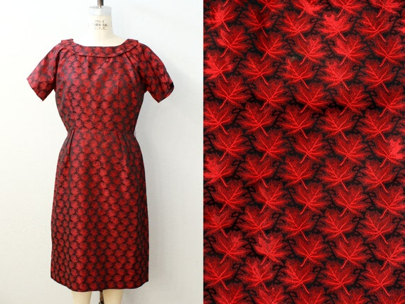 1960s dress / LEAF PRINT dress / 60s sexy wiggle dress / 46 Bust 32 Waist
