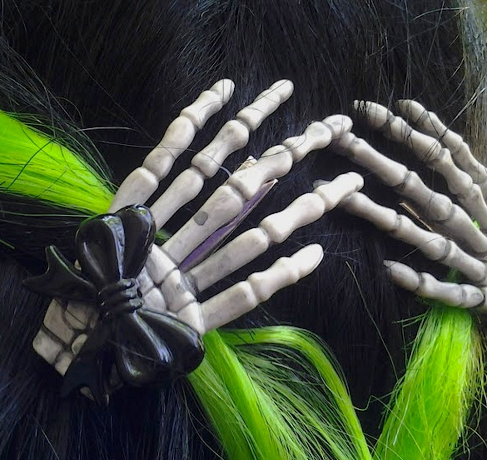 Ana Accessories Free, fast shipping on Skeleton Hand Hair Clip at Dolls Kill, an online boutique for Widow and goth fashion. Shop Widow, new goth fashion, black dresses, classy goth fashion, occult fashion, and goth clothing, shoes, & accessories here.