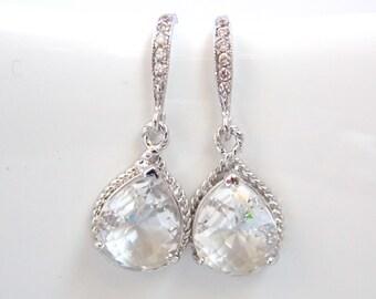 Clear Earrings, Glass Earrings, Crystal, Silver, Wedding Jewelry, Bridesmaid Earrings, Bride Earrings, Bridal Earrings, Cubic Zirconia