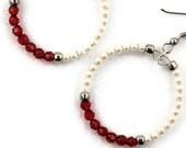 Beaded Hoop Earrings in Red and Ivory Pearls