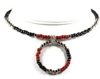 Circle Choker Necklace in Oxblood Black and Silver