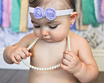 Baby Headband - Pastel Lavender Rosette Shabby Bow with Pearl Center on White Satin Headband