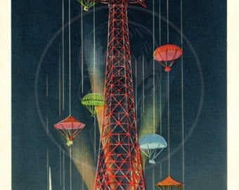 The Parachute Jump  - 10x16 Giclée Canvas Print of Vintage Postcard