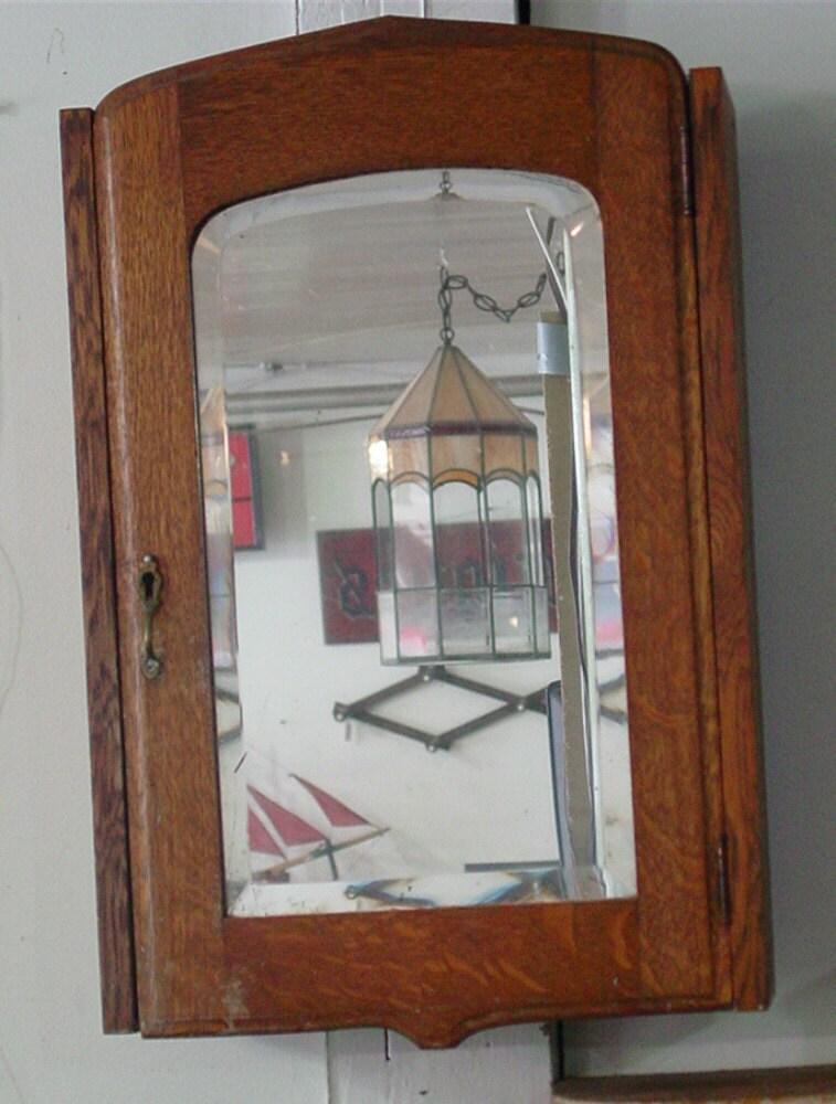 Antique Victorian Oak Medicine Cabinet With Beveled Mirror