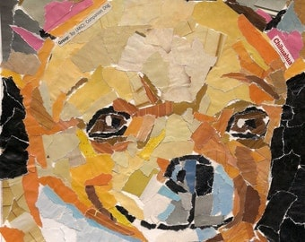 Chihuahua Recycled Paper Mosaic Collage Dog Art