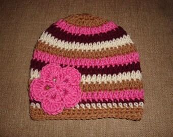 Crochet Girl Flower Hat in Maroon, Pink, Tan, Cream Stripes, Texas A&M, TAMU, Aggie, Mississippi State Bulldog, toddler - child - teen sizes