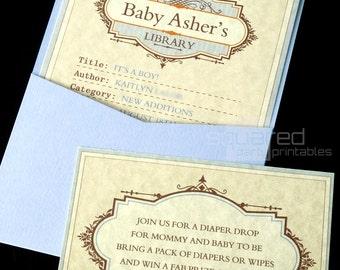 Library Book Baby Shower Printable Invitation - DIY Print - Baby Boy - It's A Boy