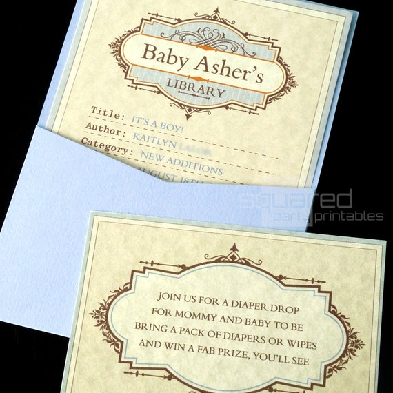 Library Book Baby Shower Printable Invitation - DIY Print - Baby Boy - It's A Boy