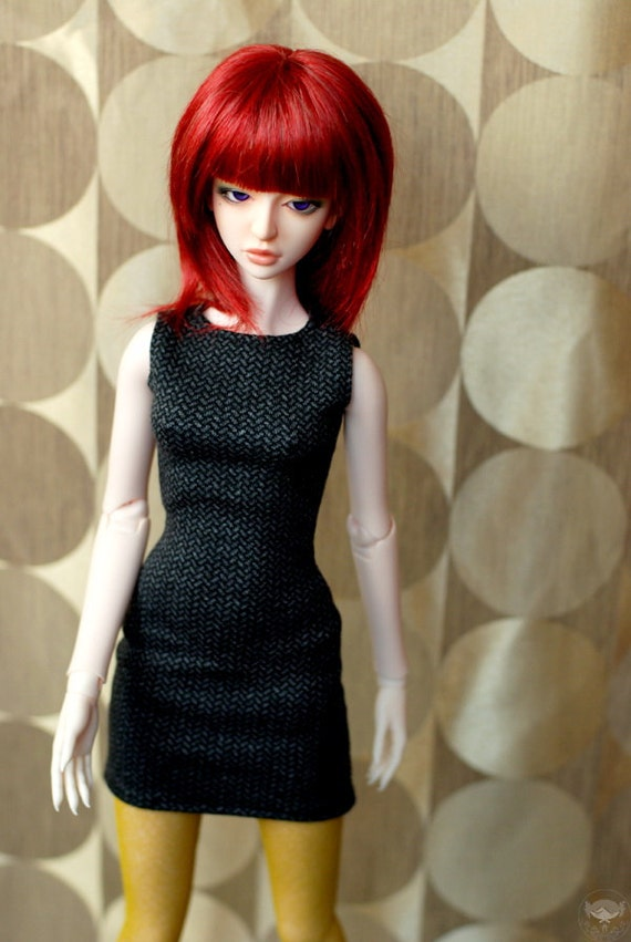 SD Grey Herringbone Knit Dress For BJD - Last One