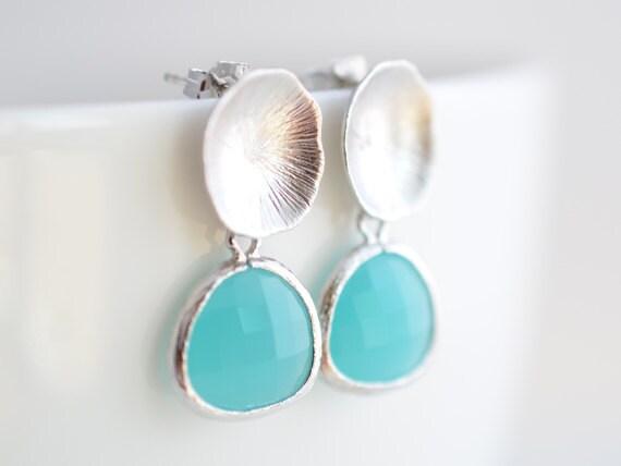40% OFF, Lotus earrings, Aqua blue earrings, silver earrings, Post earrings, Stud earrings, Wedding earrings, Bridal jewelry, Bead earrings
