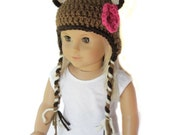 "18"" Doll Clothes - Animal Earflap Beanie - Brown Bear with Pink Flower"