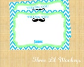 SALE- Mustache Thank You Cards