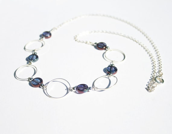 Shops in UK, Purple and Silver Circle Necklace, UK Sellers, Ready to Post