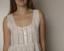 Vintage Inspired Hand Embroidered Linen Night Gown For Woman